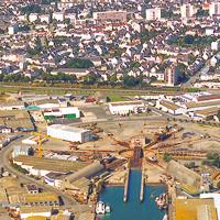 Le quartier du port de Lorient, vue aérienne.